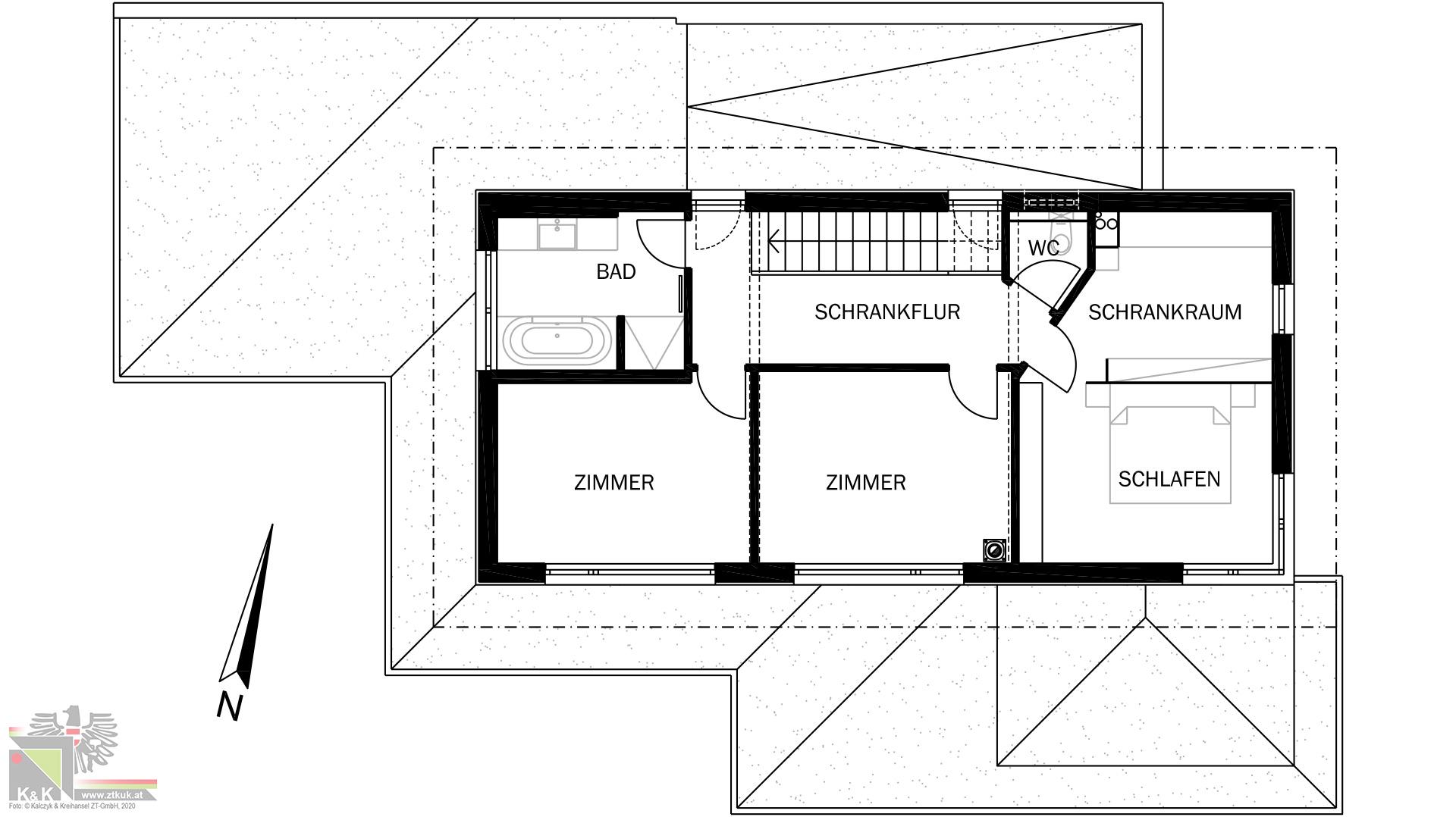 Einfamilienhaus in Holsbauweise - Obergeschoss