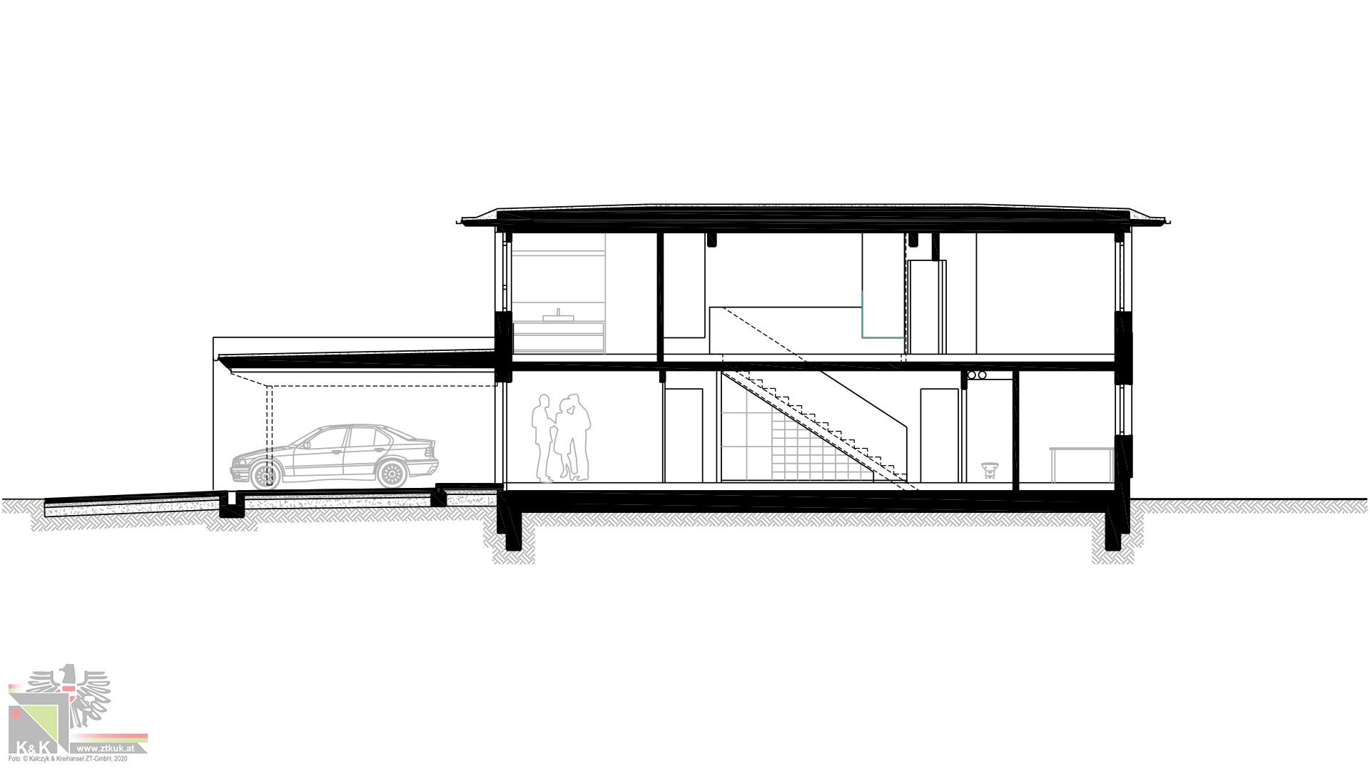 Einfamilienhaus in Holsbauweise - Systemschnitt