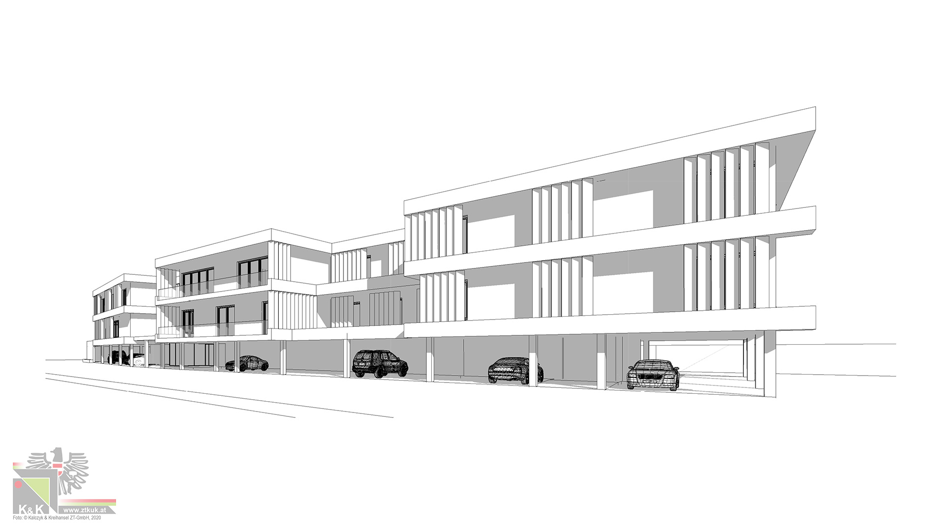 Drathmodell Bürogebäude