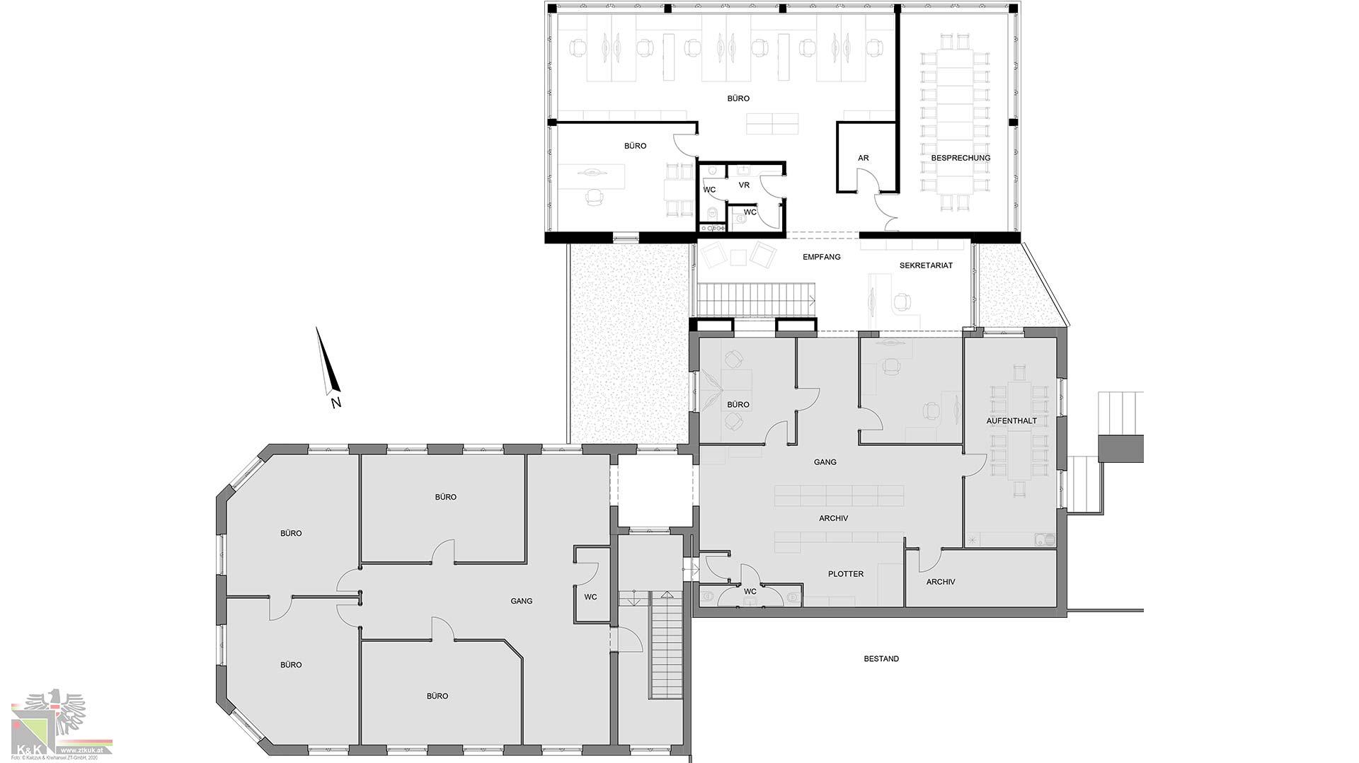 Baupläne modernes Großraumbüro